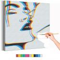 Поцелуй / Пара Раскраска картина по номерам на холсте с неоновой краской AAAA-RS313