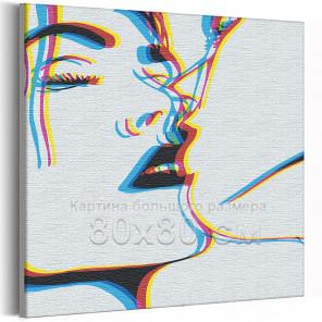 Поцелуй / Пара 80х80 см Раскраска картина по номерам на холсте с неоновой краской AAAA-RS313-80x80