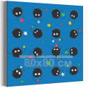 Сусуватари / Пыльные зайчики Унесеннные призраками Аниме 80х80 см Раскраска картина по номерам на холсте с неоновой краской AA