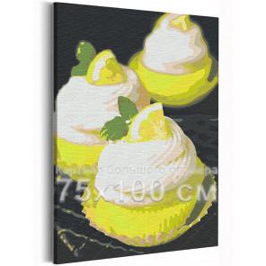 Десерт с долькой лимона / Еда / Сладости 75х100 см Раскраска картина по номерам на холсте с неоновой краской AAAA-RS152-75x100