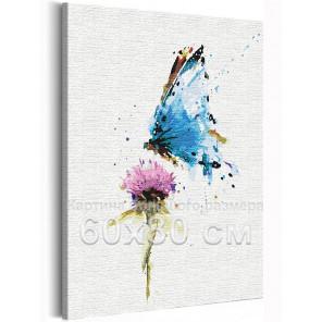Пример в интерьере Бабочка и цветок / Полет 60х80 см Раскраска картина по номерам на холсте с неоновой краской AAAA-RS154-60x80