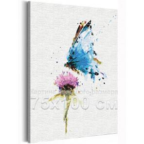 Пример в интерьере Бабочка и цветок / Полет 75х100 см Раскраска картина по номерам на холсте с неоновой краской AAAA-RS154-75x1