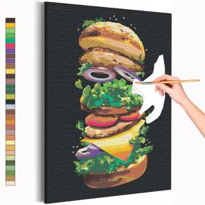 Бургер / Еда / Завтрак Раскраска картина по номерам на холсте с неоновой краской AAAA-RS151