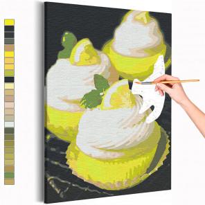Десерт с долькой лимона / Еда / Сладости Раскраска картина по номерам на холсте с неоновой краской AAAA-RS152
