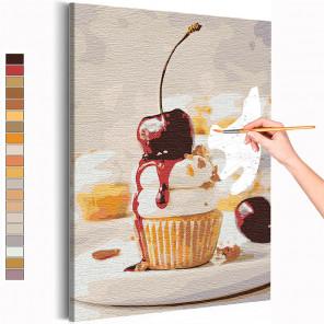 Кекс с вишенкой / Десерт / Еда Раскраска картина по номерам на холсте AAAA-RS153
