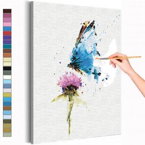 Пример картины и схема Бабочка и цветок / Полет Раскраска картина по номерам на холсте с неоновой краской AAAA-RS154