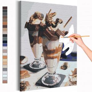 Десерт для двоих / Завтрак в кафе Раскраска картина по номерам на холсте