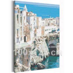 Берег Италии / Вилла на море 100х125 см Раскраска картина по номерам на холсте AAAA-RS218-100x125