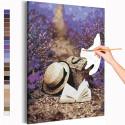 Прогулка с книгой / Лаванда / Цветы Раскраска картина по номерам на холсте с неоновой краской AAAA-RS216