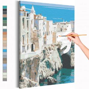 Берег Италии / Вилла на море Раскраска картина по номерам на холсте AAAA-RS218
