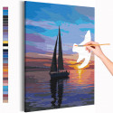 Парусник / Закат на море Раскраска картина по номерам на холсте AAAA-RS219