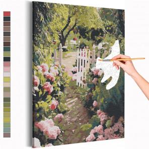 Прогулка в саду / Природа / Цветы Раскраска картина по номерам на холсте AAAA-RS223