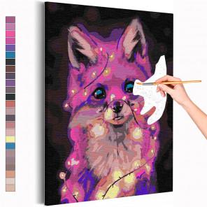 Лисенок и гирлянда / Животные Раскраска картина по номерам на холсте с неоновой краской AAAA-RS171