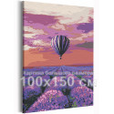 Воздушный шар и поле лаванды / Полет 100х150 см Раскраска картина по номерам на холсте с неоновой краской AAAA-RS205-100x150