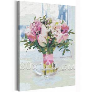 Пример в интерьере Тюльпаны в вазе / Букет цветов 80х120 см Раскраска картина по номерам на холсте с неоновой краской AAAA-RS20