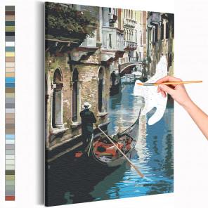 Пример картины и схема Прогулка по Венеции / Италия Раскраска картина по номерам на холсте AAAA-RS203