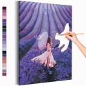 Девушка и поле лаванды / Прованс Раскраска картина по номерам на холсте с неоновой краской AAAA-RS204