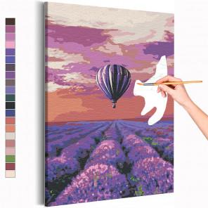 Пример картины и схема Воздушный шар и поле лаванды / Полет Раскраска картина по номерам на холсте с неоновой краской AAAA-RS20