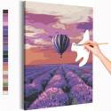 Воздушный шар и поле лаванды / Полет Раскраска картина по номерам на холсте с неоновой краской AAAA-RS205