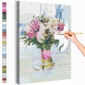 Пример картины и схема Тюльпаны в вазе / Букет цветов Раскраска картина по номерам на холсте с неоновой краской AAAA-RS206