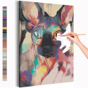 Радужный сфинкс / Кот Раскраска картина по номерам на холсте с неоновой краской AAAA-RS226
