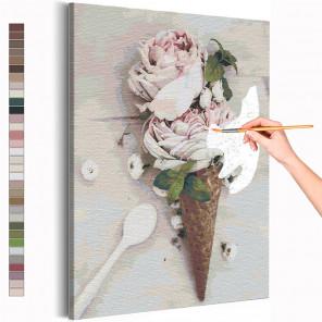 Розы мороженое / Цветы Раскраска картина по номерам на холсте AAAA-RS227