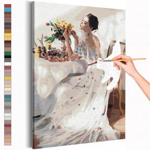 Пример картины и схема Девушка и букет цветов на столе Раскраска картина по номерам на холсте AAAA-RS210