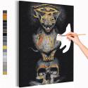 Кот и череп Раскраска картина по номерам на холсте с металлической краской AAAA-RS212