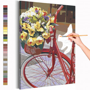 Пример картины и схема Велосипед и букет цветов / Прогулка Раскраска картина по номерам на холсте AAAA-RS214