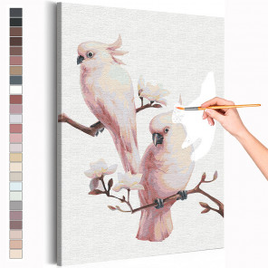 Пример картины и схема Попугаи на ветке / Птички Раскраска картина по номерам на холсте AAAA-RS215
