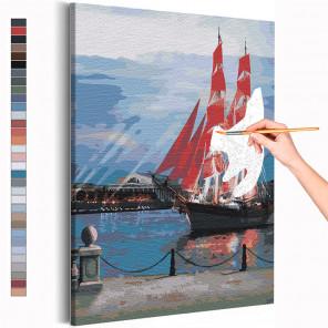 Алые паруса в Санкт-Петербурге / Парусник Раскраска картина по номерам на холсте AAAA-RS274