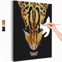 Кот и бабочка / Животные Раскраска картина по номерам на холсте с металлической краской AAAA-RS281