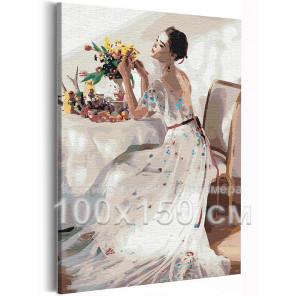 Пример в интерьере Девушка и букет цветов на столе 100х150 см Раскраска картина по номерам на холсте AAAA-RS210-100x150