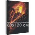 Девушка и драконы 80х120 см Раскраска картина по номерам на холсте AAAA-RS211-80x120