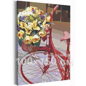 Пример в интерьере Велосипед и букет цветов / Прогулка 100х150 см Раскраска картина по номерам на холсте AAAA-RS214-100x150