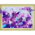 Лавандовые колибри Алмазная картина фигурными стразами Color Kit FM001