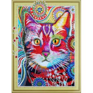 Кот в одуванчиках Алмазная картина фигурными стразами Color Kit FM006
