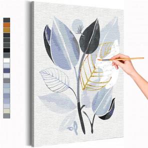 Стильные листья Раскраска картина по номерам на холсте с металлической краской AAAA-RS235