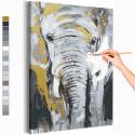 Серый слон / Животные Раскраска картина по номерам на холсте с металлической краской AAAA-RS289