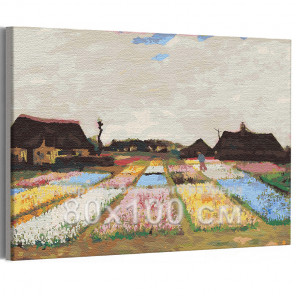 Цветники в Голландии Винсент Ван Гог / Известные картины 80х100 см Раскраска картина по номерам на холсте AAAA-RS270-80x100