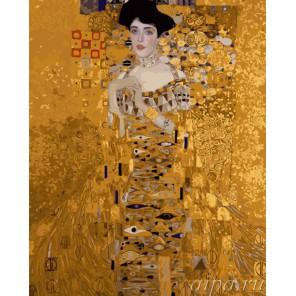 Золотая Адель (репродукция Густав Климт) Раскраска (картина) по номерам акриловыми красками на холсте