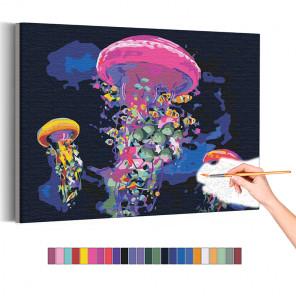 Неоновые медузы / Море Раскраска картина по номерам на холсте с неоновой краской AAAA-RS175