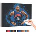 Леброн Джеймс Баскетбол Раскраска картина по номерам на холсте с неоновой краской AAAA-RS178