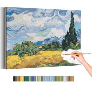 Пшеничное поле с кипарисом Винсент Ван Гог / Известные картины Раскраска картина по номерам на холсте AAAA-RS288