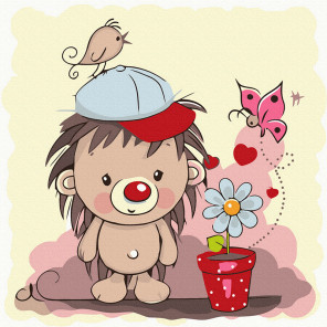 Ёжик с цветком Картина по номерам Molly KH1070