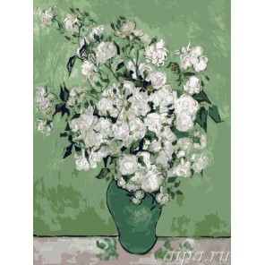 Розы в вазе ( репродукция Ван Гога ) Раскраска (картина) по номерам на холсте Molly