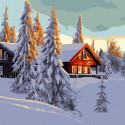 Домик в зимнем лесу Картина по номерам Molly KH1086