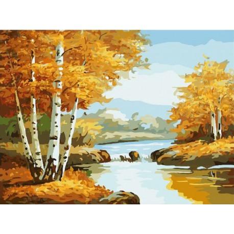 Золотая осень Раскраска (картина) по номерам на холсте ...