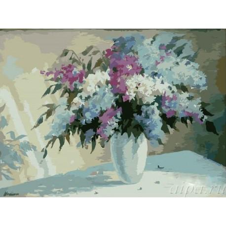 Ранняя сирень ( художник Мелёшина Инна ) Раскраска (картина) по номерам акриловыми красками на холсте
