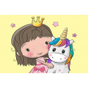 Принцесса и единорожек Раскраска картина по номерам на холсте MC1103